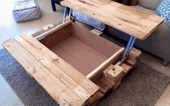 Pallet Coffee Table with Storage : Pallet Furniture Projects.