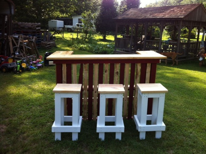 Pallets Patio Counter With Stools Wooden Pallets Patio Counter With Stools  ...