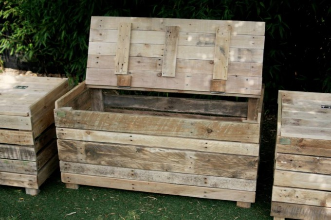 Reclaimed Pallet Wood Storage Benches Furniture