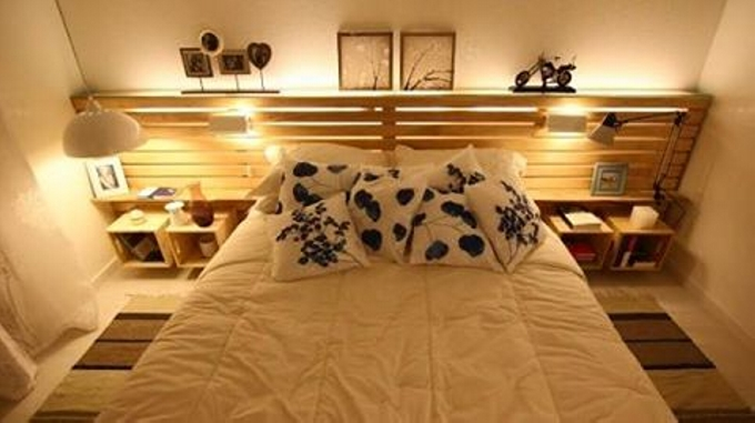 Pallet Bed With Lights pallet bed with lights | pallet furniture projects.