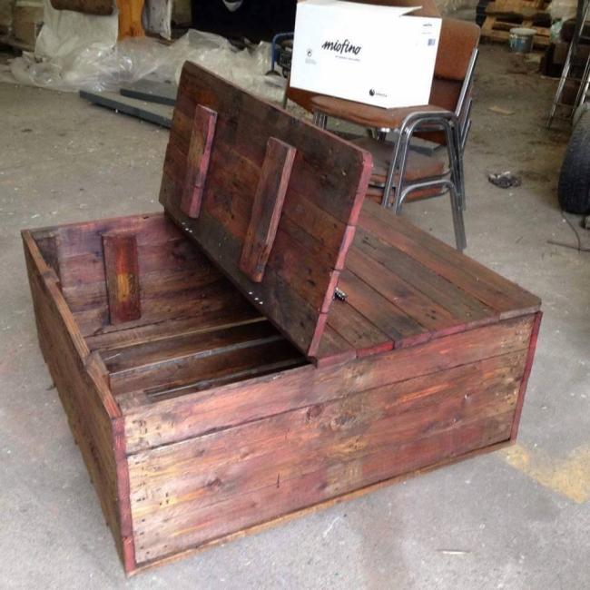 Pallet table cum storage chest pallet furniture projects for Pallet wood storage box