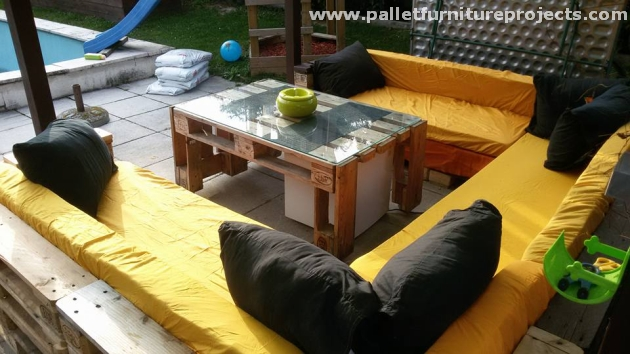 Patio Furniture out of Wooden Pallets. Colorful Pallet Furniture for Pergola Deck   Pallet Furniture