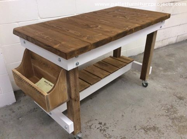 Portable pallet breakfast bar pallet furniture projects for Movable pallets