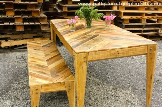 Chevron Pallet Coffee Table pallet chevron table ideas | pallet furniture projects.