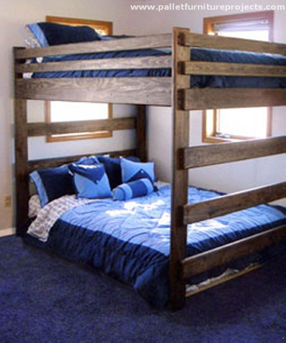 Pallet bunk bed projects pallet furniture projects for Kids pallet bed