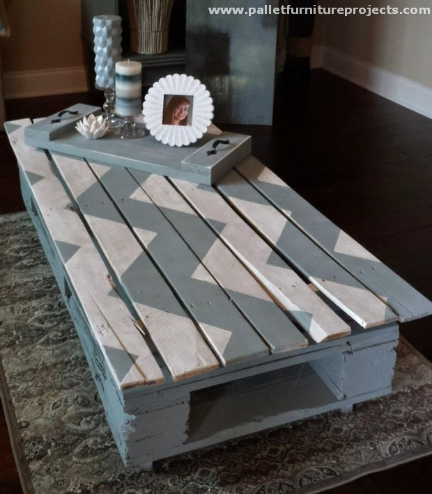 Pallet chevron table ideas pallet furniture projects for Painted pallet coffee table