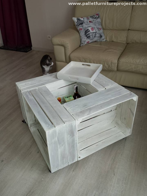 Diy Table From Pallet Fruit Crates Pallet Furniture Projects