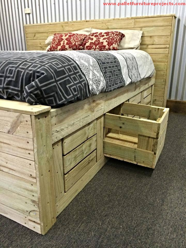 Stunning pallet made bed pallet furniture projects for Beds made with pallets