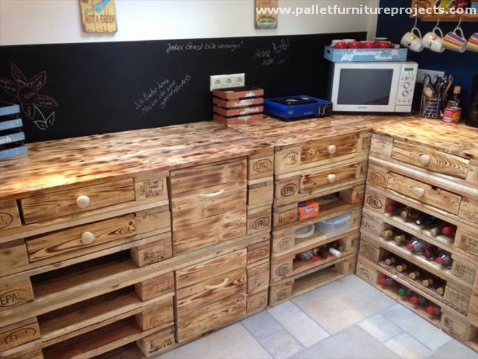Pallets kitchen installations pallet furniture projects - Cupboards made from pallets ...