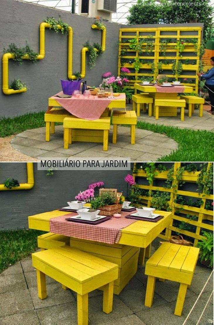 enfeites de jardim solar:Pallet Furniture. Upcycled Pallet Double Chairs with Storage. Pallet