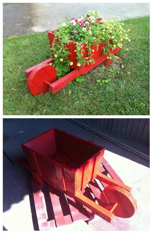 Pallet planter ideas pallet furniture projects for Wooden garden ornaments and accessories