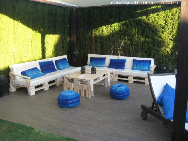 Patio Pallet Furniture Under Gazebo with Pool
