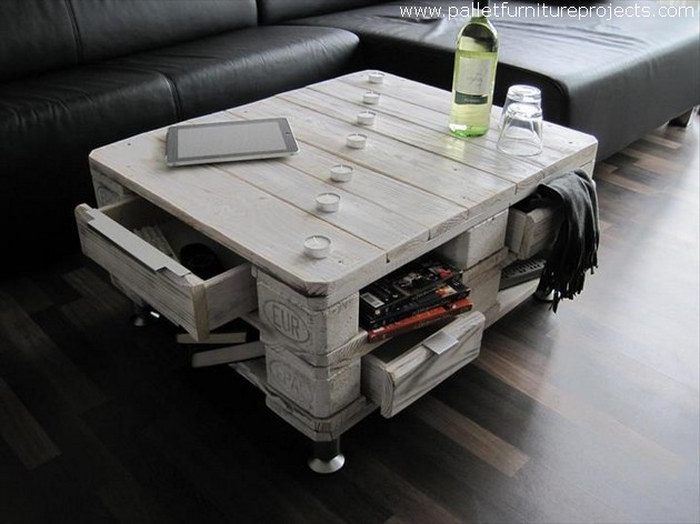 pallet table with storage drawers