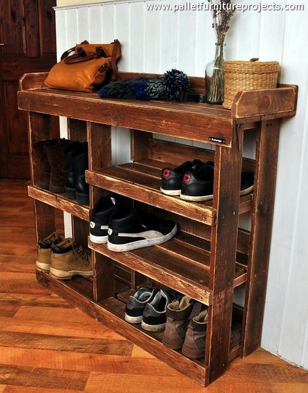 Pallet Wood Made Shoe Racks | Pallet Furniture Projects.