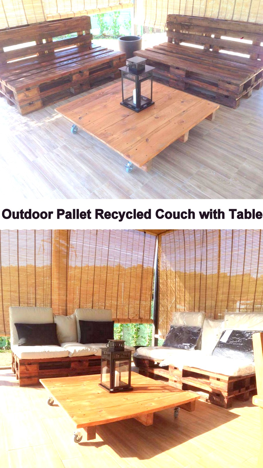 Outdoor Pallet Recycled Couch with Table