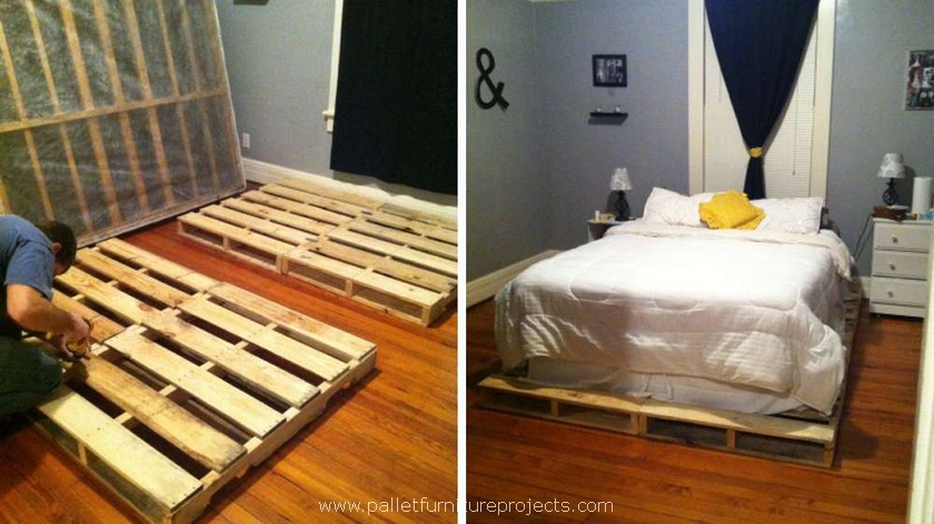 diy wooden pallet bed