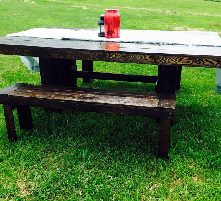 Farm Wood Furniture ~ Pallet farm table and benches furniture projects