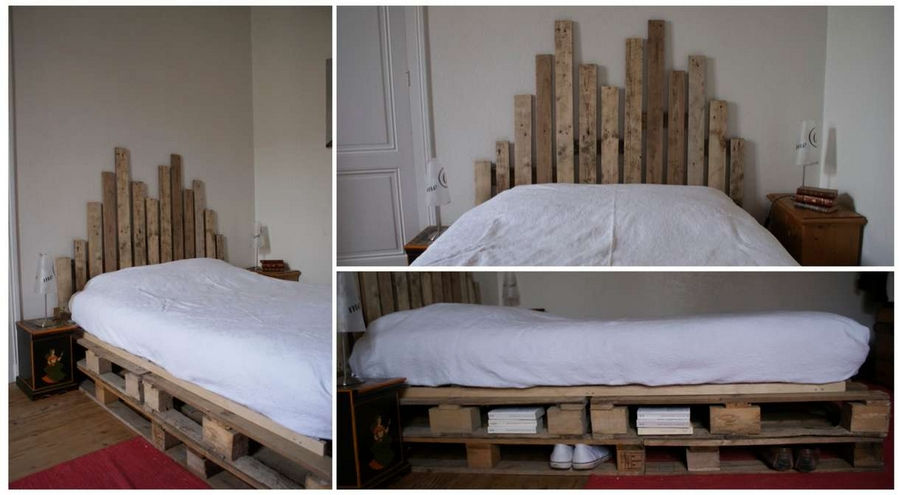 recycled wooden pallet bed