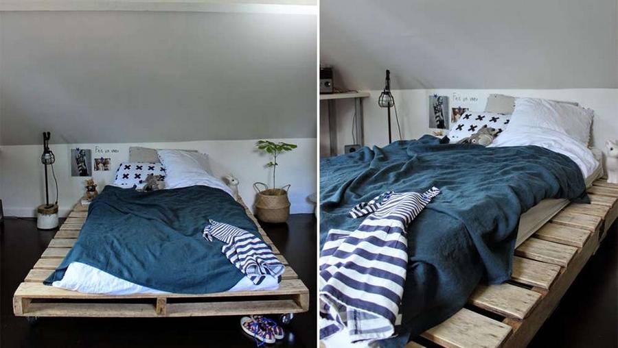 wood pallet bed on wheels