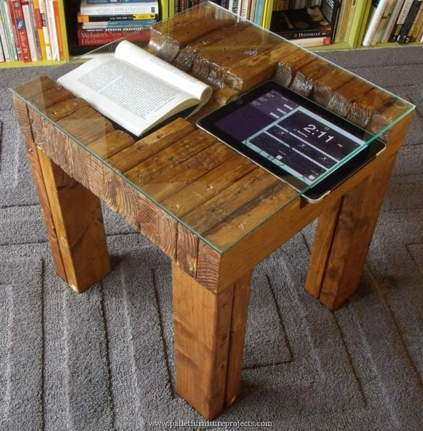 wooden pallet glass top table