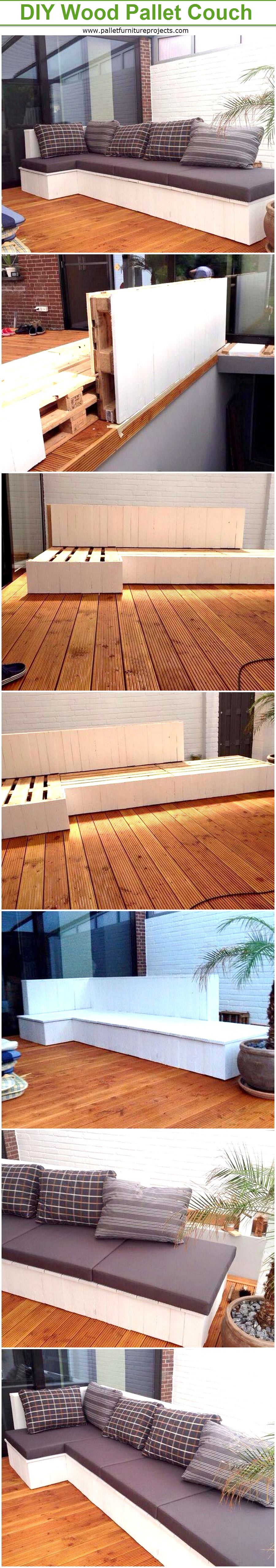 DIY Wood Pallet Cushioned Couch