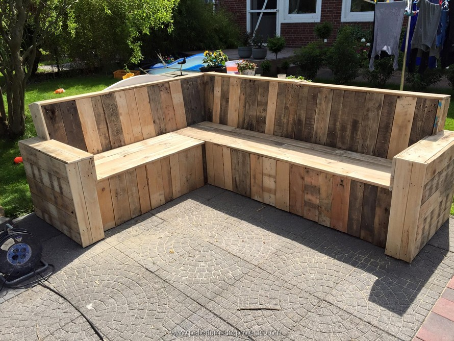 repurposed pallet outdoor giant couch