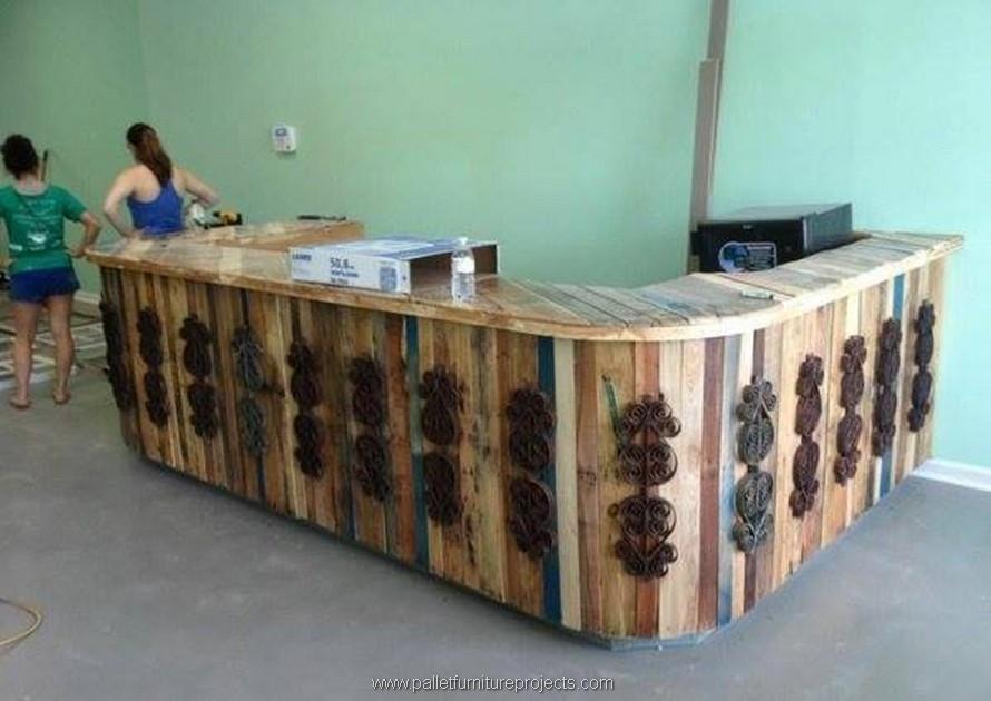 wooden pallet bar counter