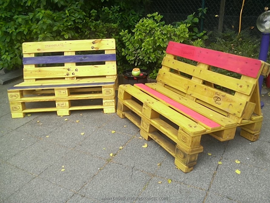 wooden pallet outdoor benches