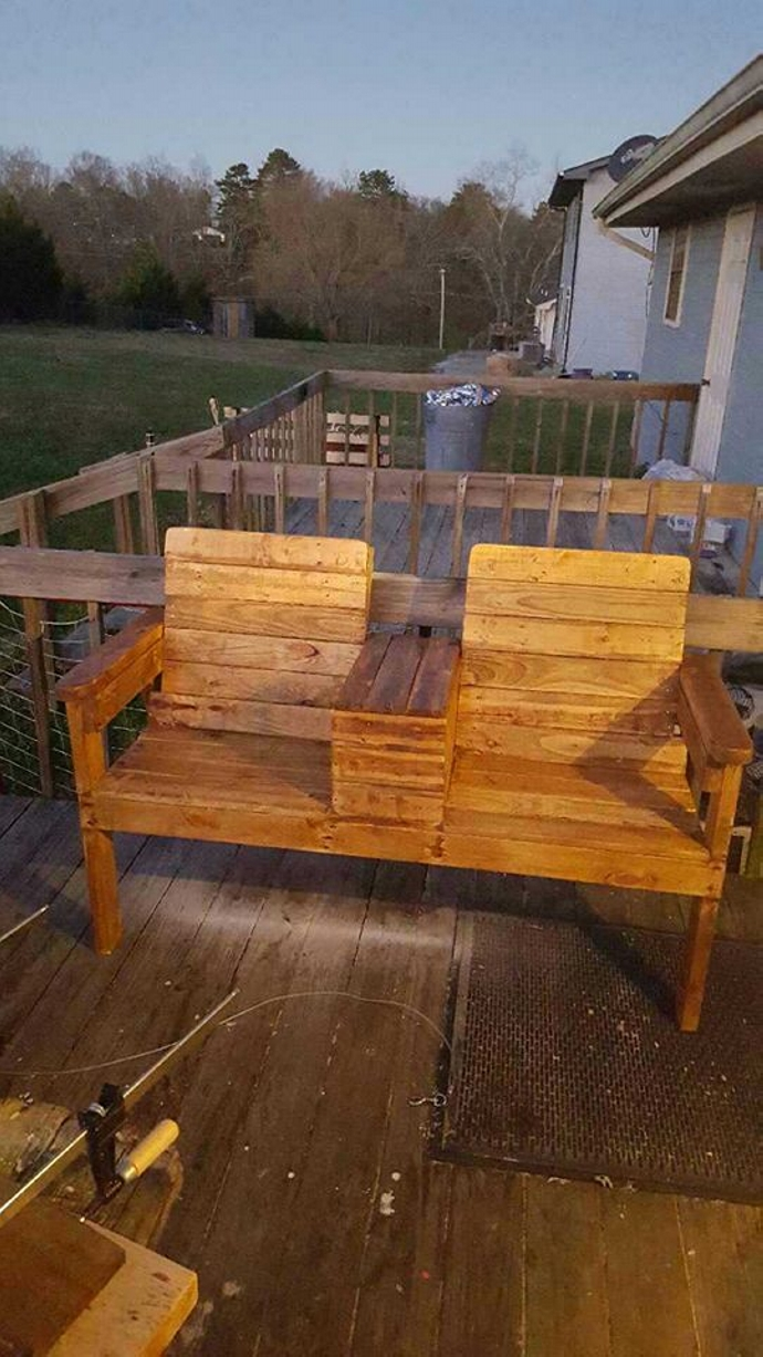 Tremendous Pallet Double Chairs With Storage Pallet Furniture Projects Customarchery Wood Chair Design Ideas Customarcherynet