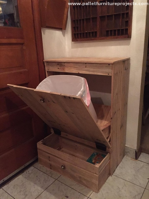Pallet Tip Out Trash Can Pallet Furniture Projects
