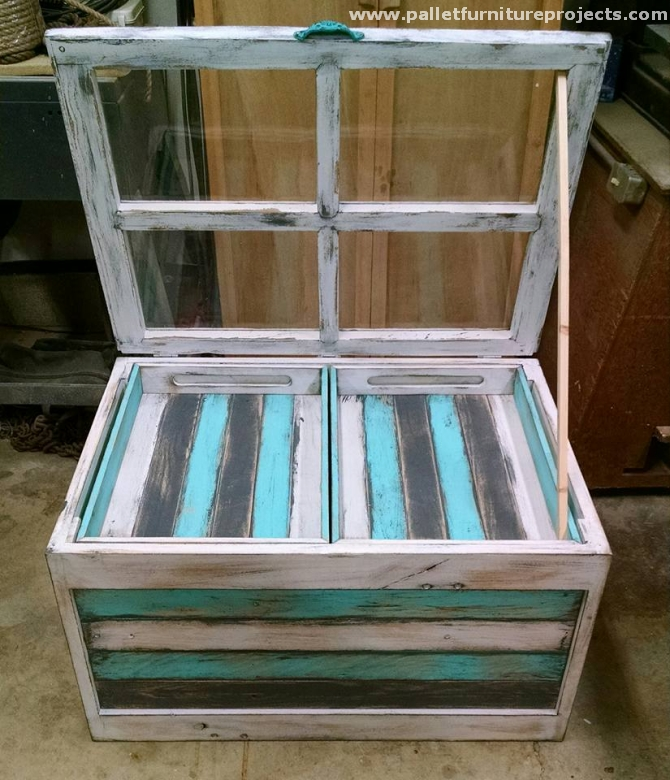 Pallet Coffee Table With Hidden Storage: Oak Pallet Coffee And End Tables