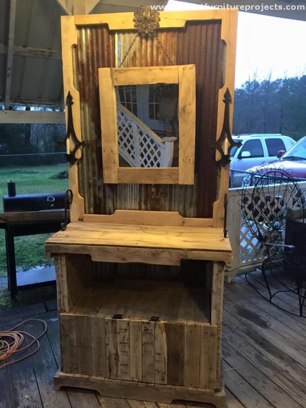 Pallet Vanity Mirror Ideas | Pallet Furniture Projects