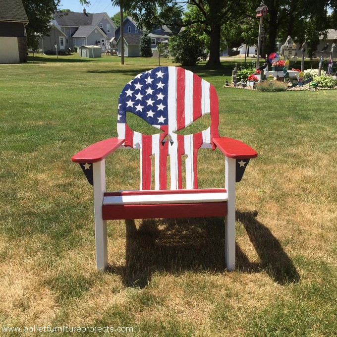 Wood Pallet Punisher Skull Adirondack Chair Pallet
